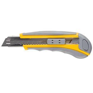 """09142 Нож STAYER """"МАСТЕР"""" двухкомпонентный корпус. лезвием,серо-желт.кассетой на 5лезвий18 мм упроч."""