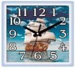 2010-753 Часы настен.23,5см*23,5см  пластик КОРАБЛЬ 1