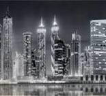 Вечерний Дубай ч/б панно 602*1002 мм