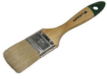 """0102-050 Кисть плоская STAYER """"UNIVERSAL-EURO"""", светлая натуральная щетина, деревянная ручка, 50мм."""