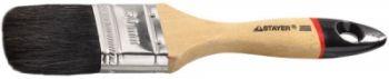 """01022-075 Кисть плоская STAYER """"UNIVERSAL-EURO"""", черная.натуральная щетина, деревянная ручка, 75мм."""