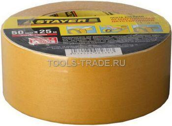 1217-05 Лента STAYER клеящая, двухсторонняя, укрепленная тканью, 50мм*5м